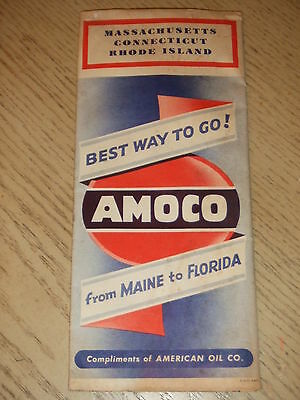 1947 Amoco Oil Gas Massachusetts Connecticut Rhode Island State Highway Road Map