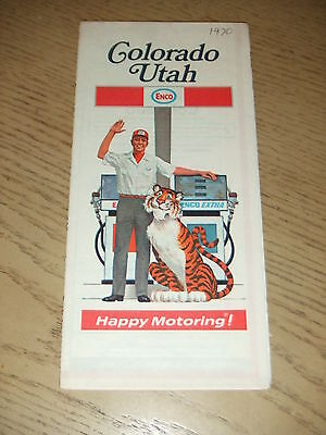 VINTAGE 1970 Enco Humble Oil Colorado Utah State Highway Road Map Tiger Guide UT