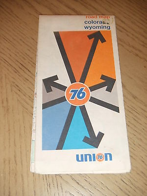 VINTAGE 1973 Union 76 Oil Gas Colorado Wyoming State Highway Road Map Cheyenne
