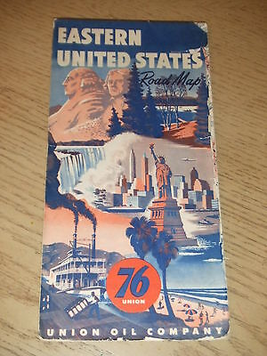 VINTAGE 1953 Union 76 Oil Gas Eastern United States Highway Road Map Minute Man