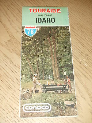 VINTAGE 1976 Conoco Oil Gas Idaho State Highway Road Map Touraide Pocatello ID