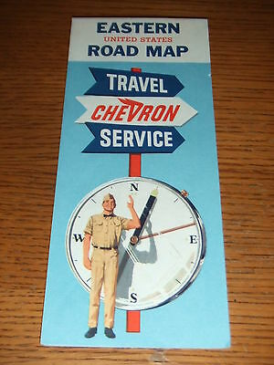VINTAGE 1964 Chevron Gas Oil Highway Road Map Eastern United States USA RPM