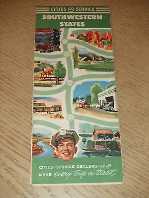 VINTAGE 1950 Cities Service Oil Gas Southwestern States Highway Road Map Citgo