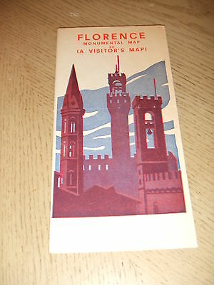 VINTAGE 1955 Florence Italy Monumental City Tourist Guide Map ADS 3D Buildings