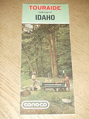 VINTAGE 1972 Conoco Oil Gas Idaho State Highway Road Map Touraide Pocatello ID