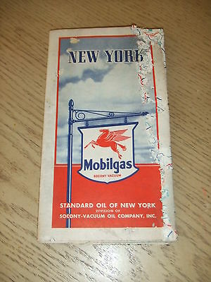 VINTAGE 1939 Mobil Oil Gas New York State Highway Road Map Socony Vacuum Guide