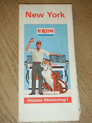 VINTAGE 1974 Exxon Oil Gas New York State Highway Road Map Syracuse Rochester NY