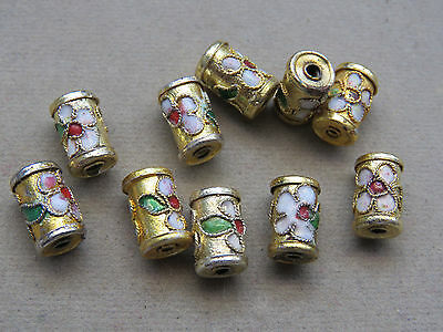 5 Gold 11x7mm Cloisonne Beads (D7A)