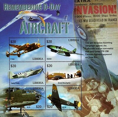 WWII 60th Anniversary of D-Day Aircraft (P-38/Firefly) Stamp Sheet/2004 Liberia