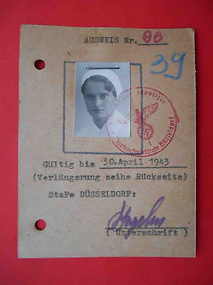 Dusseldorf 1943 Occupation ID for woman from Ukraine Kiev with real photo.