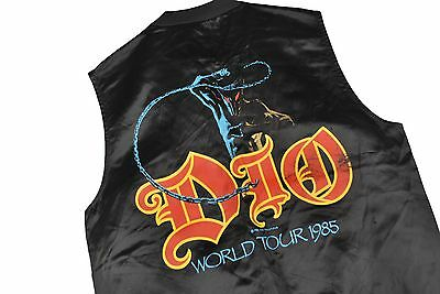 MENS S VTG 80s 1984 Dio Rock Metal Concert World Tour Satin Snap Vest Jacket