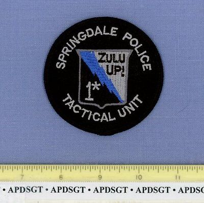 SPRINGDALE ~ SWAT ~ ARKANSAS AR Police Patch ZULU UP 1* TACTICAL UNIT 3""