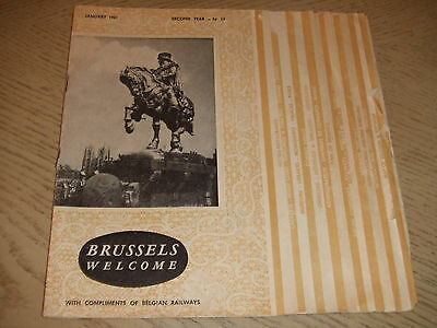 VINTAGE 1961 Railway PROMO Brussels Belgium Tourist Directory Guidebook Maps Ads