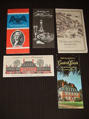 5 VINTAGE 1970's Williamsburg Virginia Tourist Brochures Carter's Grove Palace