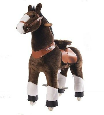 """Pony Cycle RIDE ON PONY Chocolate Brown White Hooves Medium 35"""" Ages 4-9 N4152"""