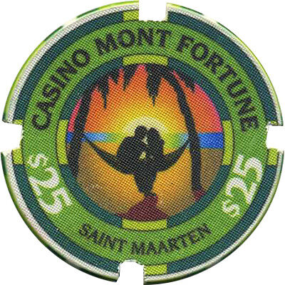 CASINO MONT FORTUNE $25 Casino Chip St Maarten Caribbean *notched Chipco sample