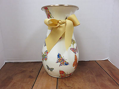 New~Mackenzie Child's BUTTERFLY GARDEN Tall Enamel Vase, Yellow Grossgrain Bow