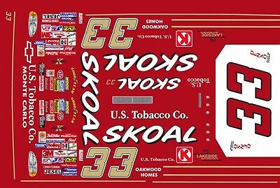 #33 Kenny Schrader Skoal Chevy 1999 1/43rd Scale Slot Car Decals