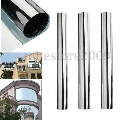 Silver Reflective One Way Window Film Foil Mirror Privacy Sticky Glass 1m/2m/3m