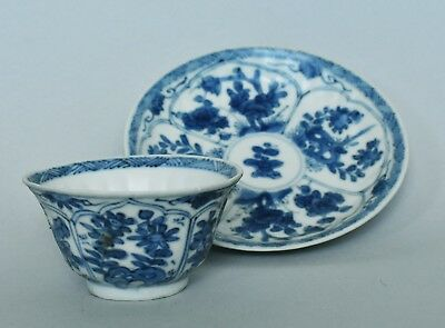 Shipwreck Qing Kangxi  Blue and white cup/saucer (kraak style floral)