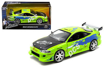 Jada 2001 Fast And The Furious Brian's 1995 Mitsubishi Eclipse 1/24 Green 97603