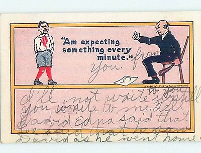 Damaged Pre-1907 spanking comic BOY GETS SPANKED BY SCHOOL ADMINISTRATOR ho4117