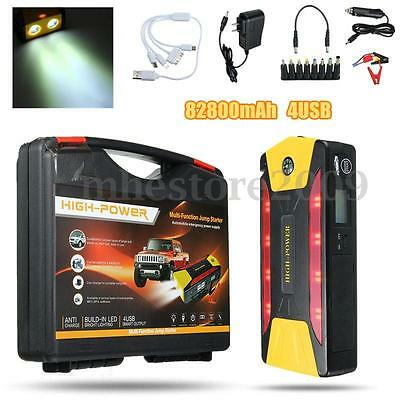 82800mAh 4-USB Car Jump Starter Emergency Charger Booster Power Bank Battery SOS