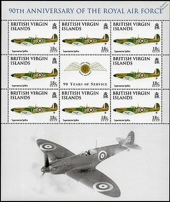 RAF SUPERMARINE SPITFIRE Aircraft Stamp Sheet (2008 Royal Air Force 90th Anniv.)
