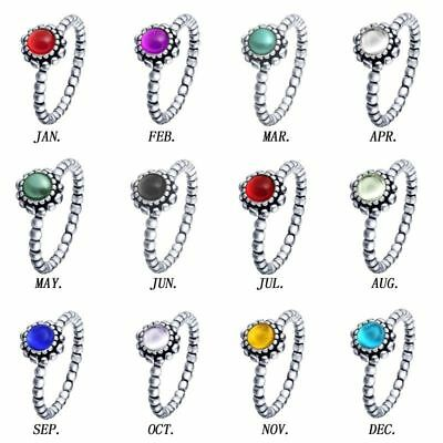 Birthstone sterling 12 colors crystal silver Ring Gift for Families Friends