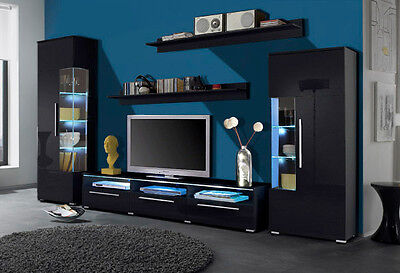 wohnwand anbauwand 5tlg mit lowboard vitrine regal schwarz hochglanz neu 396333 eur 469 00. Black Bedroom Furniture Sets. Home Design Ideas