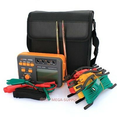 Vc4105A Digital Earth Ground Resistance Tester Meter Lcd 0.01Ω~2000Ω Ac200V New