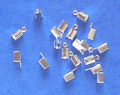 50 small silver plated folding crimps/ends for thong, with small top loop