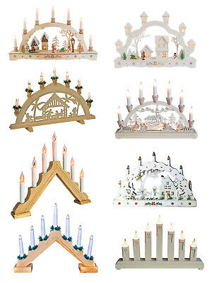 Christmas Wooden Candle Bridge Light Up Pine Pre-Lit Xmas Decoration Arch Window