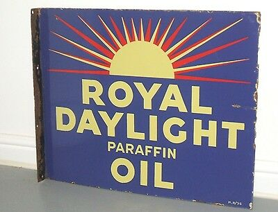 Original Rare Enamel Sign ROYAL DAYLIGHT Paraffin OIL - Double Sided dated 1935