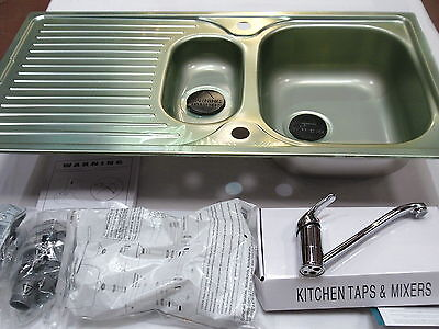 Astracast 1.5 Bowl Kitchen Sink Reversible Stainless Steel And Chrome Mixer Tap