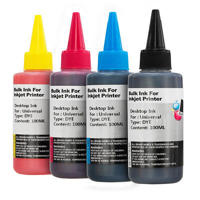 4x 100ml Black & Colour Bottles Dye Printer Ink for CISS Printer Cartridges