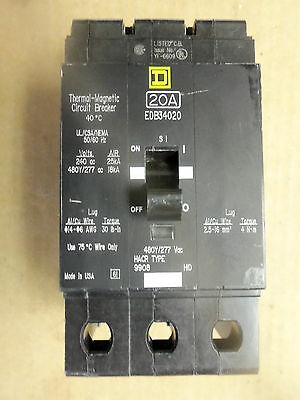 New Take Out Square D EDB 3 pole 20 amp 480y/277v 240v EDB34020 Circuit Breaker