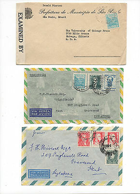 Brazil.3 Early Air Mail Covers to GB. & USA.