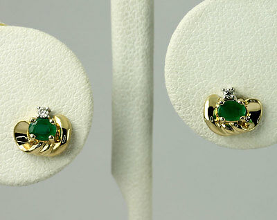 Natural Round Diamond & Oval Emerald 14k Yellow Gold Swirl Stud Earrings