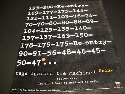 RAGE AGAINST THE MACHINE don't have to sell out to sell out 1994 PROMO POSTER AD