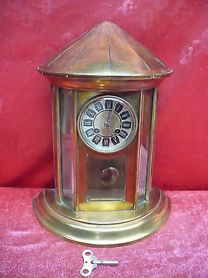 beautiful, antique mantel clock__Pendulum Clock__brass-glass__39cm