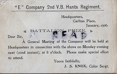 Postcard notifying a Sgt of a meeting of E Company 2nd V B Hampshire Regiment