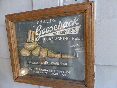 Vintage advertising notice Phillips Gooseback Arch Supports moving foot diagram