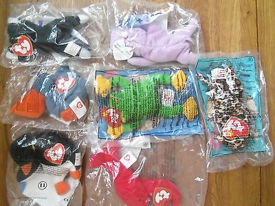 New In Packet 7 Ty Teenie Original Beanie McDonald Happy Meal Toys From 1993/99