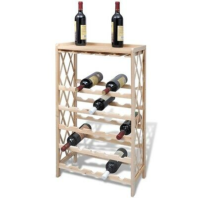 New Wood Wine Rack Wine Shelf Storage for 25 Bottles Stackable Display Home Bar