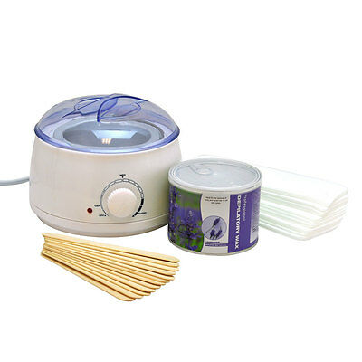 Wax Can Heater Depilatory KIT Salon Spa Hair Removal Paper Strips Waxing Warmer