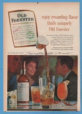 1960 Old Forester Kentucky Straight Bourbon Whiskey Brown Forman Louisville Ad