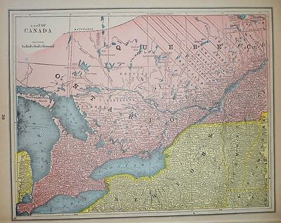 Canada Antique Map 1893, Quebec Ontario New Brunswick Nova Scotia