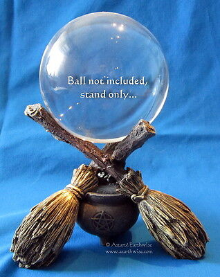 WITCHES BROOMS CRYSTAL BALL HOLDER WITH PENTAGRAM  Wicca Pagan Witch Goth