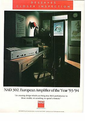 NAD Nether Street NAD 302 Hi Fi Amplifier Of The Year 1994 Vintage Advert